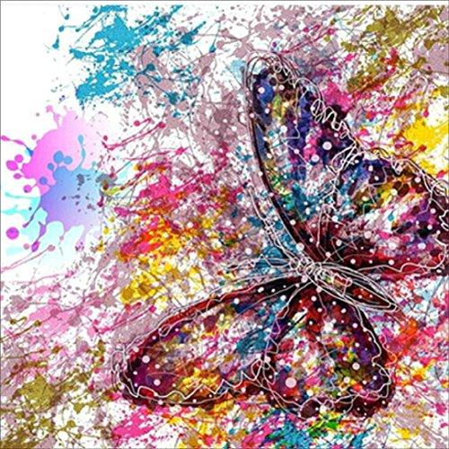 Twuky 5D DIY Voller Diamant-Malerei, nach Anzahl Kits Handwerk & Nähen Kreuzstich, Wandsticker für Wohnzimmer Dekoration,Butterfly(14X14inch/35X35CM)