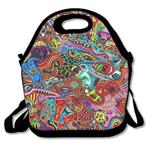 Dozili Psychedelic Devil Art Große & dicke Neopren-Lunch-Taschen, isolierte Lunch-Tasche, Kühltasche, warm, mit Schultergurt, für Damen, Teenager, Mädchen, Kinder, Erwachsene Devils Camo