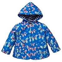 Vividda Kids Raincoat Girls Butterfly Print Waterproof Hood Jacket Outdoor with Lining