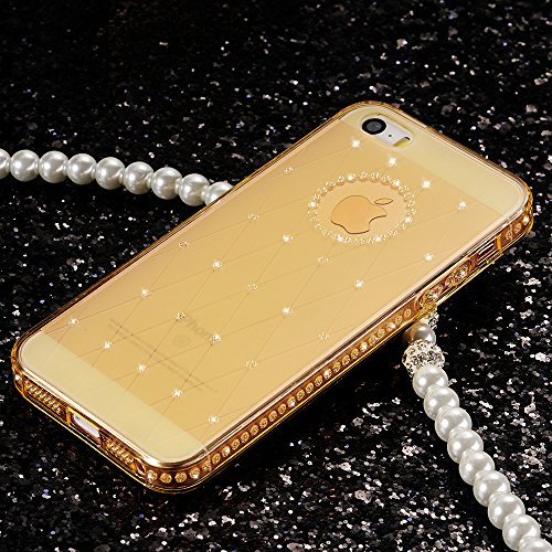 Coque iPhone SE, Coque iPhone 5/5S, Sunroyal® Coque iPhone SE/5/5s Transparente TPU Souple Etui Housse Bling Bling Gliter Sparkle Case Cover Premium Ultra Mince Hybrid Crystal Protection Bumper