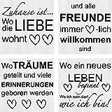Artland Leinwand-Bild fertig aufgespannt auf Holzfaserplatte mit Motiv Jule Wo die Liebe wohnt 1-4 Statement Bilder Sprüche & Texte Grau C3MN