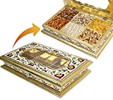 DAHSHA Handcrafted Acrylic Meenakari Rectangle Box (Multicolour, Wooden, 13x8x2-inches)