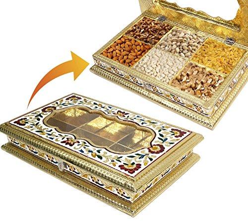 DAHSHA Handcrafted Acrylic Meenakari Rectangle Box (Multicolour, Wooden, 13x8x2-inches)