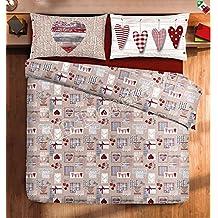 Gipetex Quadrifoglio CORTINA - Juego de ropa de cama con funda de edredón nórdico en franela para cama de matrimonio con diseño de búhos y corazones tiroleses. Fabricado en Italia. Algodón de trama de hilos