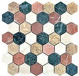 Mosaik Fliese Marmor Naturstein creme beige rot grün Hexagon Random für BODEN WAND BAD WC DUSCHE KÜCHE FLIESENSPIEGEL THEKENVERKLEIDUNG BADEWANNENVERKLEIDUNG Mosaikmatte Mosaikplatte