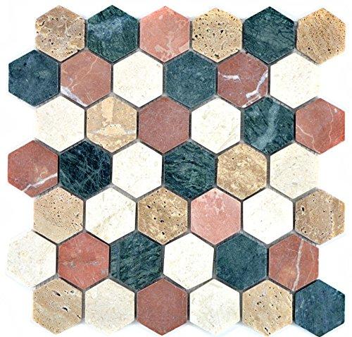 Marmor Mosaik-fußboden-fliese (Mosaik Fliese Marmor Naturstein creme beige rot grün Hexagon Random für BODEN WAND BAD WC DUSCHE KÜCHE FLIESENSPIEGEL THEKENVERKLEIDUNG BADEWANNENVERKLEIDUNG Mosaikmatte Mosaikplatte)