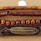 Mischen von 4 Braun Wickeln um Strap Armband Herren Damen, Feder Bettelarmband, Perlen Holz Leder Armband Schweissband - 2