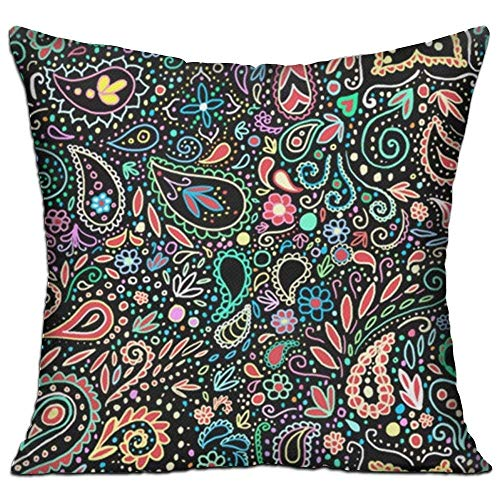Nacasu Throw Pillow Cases Cushion Protector for Sofa Bedroom Car - Blacklight Chalkboard Paisley Pillow Covers - Inserts Are Not Included - 18