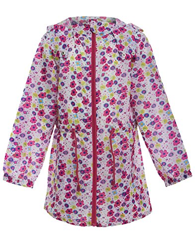 Girls Hooded fitted Raincoat fashion festival fishtail parka Kagool jacket Age 7-8 Years (7-8 Years (28), Multi-Flower)