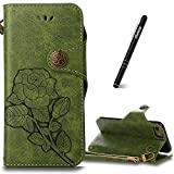 iPhone 6 Case Green,iPhone 6s Flip Case,Slynmax Floral Vintage Rose Design Flip Folio PU Leather Wallet Case Soft TPU Inner with Magnetic Closure Stand Function Credit Card Holder Pouch Hand Strap Shockproof Drop Proof Shell for Apple iPhone 6/iPhone 6s + 1* Stylus Pen