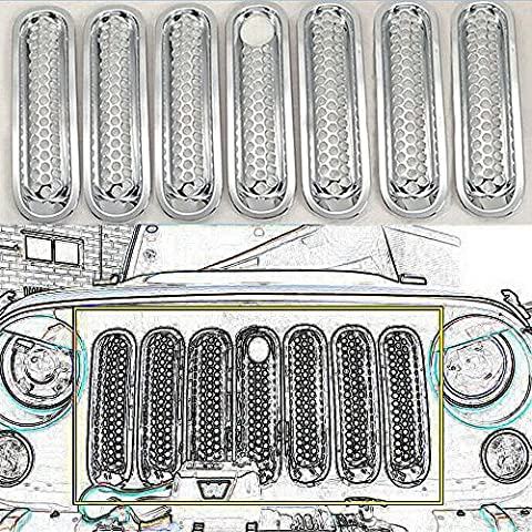 Front Grill Mesh for Jeep Wrangler Unlimited Rubicon JK Sahara & 2/4 Door 2007-2016,Grille Insert Kit (Silver with lock