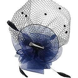 Mujer Cintas Para el pelo Fascinator Malla Tocado Hat Pluma Tamaño grande red de flores (# Azul marino)