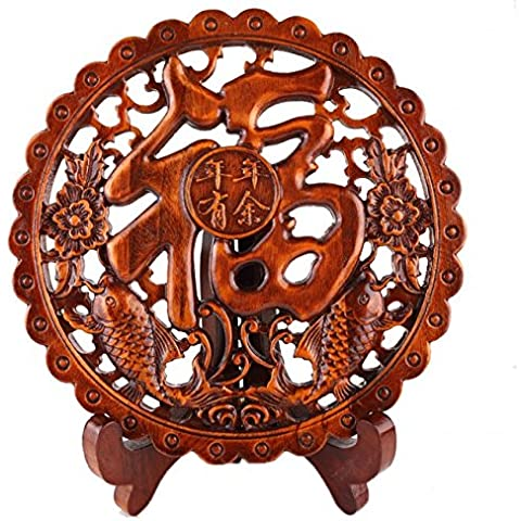 ideogramme felicità in legno Scolpisce–Decorazione asiatica–Simbolismo di
