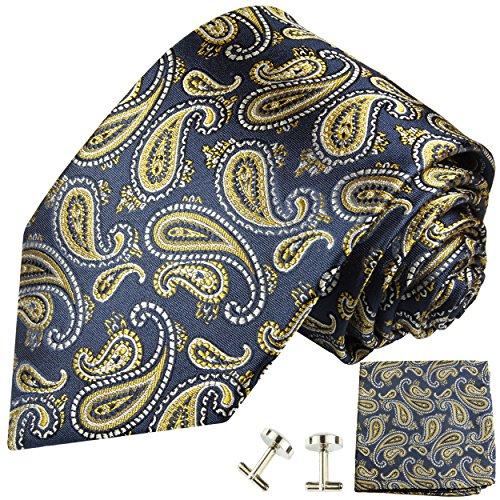 Cravate homme bleu or paisley ensemble de cravate 3 Pièces ( longueur 165cm )