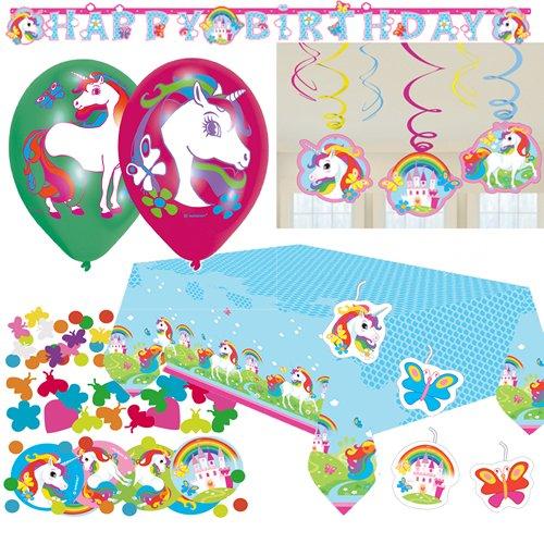 64-teiliges Deko-Set * EINHORN * für Kindergeburtstag oder Motto-Party // mit Tischdecke + Konfetti + Girlande + Deko-Swirls + Luftballons + Luftschlangen + Figuren-Kerzen // Fairy Filly Unicorn Märchen Fee Elfe Mädchen Pink