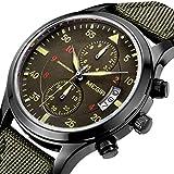 YISUYA - Orologio da polso sportivo da uomo, al quarzo, con cronografo, impermeabile, cinturino in nylon di colore verde militare