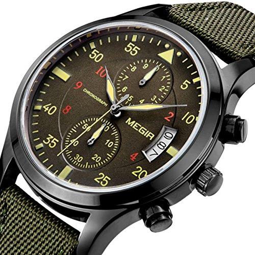 yisuya Militär Nylon Band Chronograph Wasserdicht Handgelenk Uhren, Armee Grün Herren Sport Quarz Armbanduhr