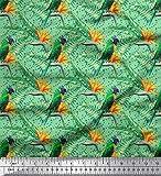 Soimoi Grun Baumwoll-Popeline Stoff dot, Palmblätter &