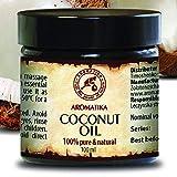 Aceite de coco sin refinar 100 ml Vidrio 100% puro y natural, prensado...