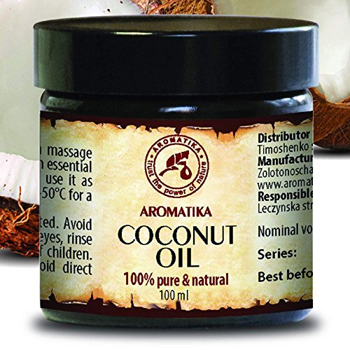 Kokosöl Kaltgepresst nativ,100 {45775240b91b2a71b4fb2acc2ab2ee5dab4fd047f5805c4b885b90c2e21ec039} reines Kokosnussöl 100ml Glastiegel - Cocos Nucifera, Indonesien, Unraffiniert, Intensive Pflege für Gesicht, Körper, Haare, Haut, Lippen, Körperpflege Öl von AROMATIKA