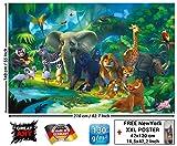 GREAT ART Animaux de la jungle Nature Aventure Tiger Lion Éléphant singe Papier Peint murale Décoration par (210x140cm)