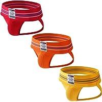 JOCKMAIL 3PCS/Pack Mens Jock Strap Briefs Mens Athletic Jockstrap Sport Underwear Briefs Athletic Supporter