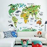 Qsoleil Animal World Map Aufkleber für Kinder, Wohnzimmer (bunt)