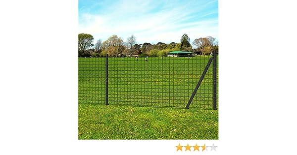 UnfadeMemory Gitterzaun-Satz Gartenzaun Eurozaun-Set mit Pfosten Maschendrahtzaun Stahldraht mit PVC-Beschichtung UV-best/ändig Witterungsbest/ändig Maschenweite 76 x 63 mm 10 x 1,5 m, Gr/ün