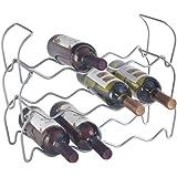 Metaltex Wine Bar 12-Botellero Apilable, Gris, 44x15x34 cm