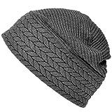 Casualbox Herren Winter Schädel Mütze Beanie Hut gemacht in Japan Licht Nahtlos Grau