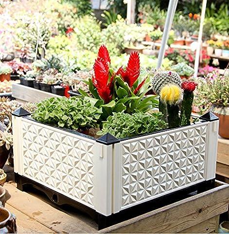 Shengmo DIY automatique de drainage Planter Box, amovible balcon Toit cour Pot de fleurs, Extra Large Légumes Pot de fleurs, intérieur ou extérieur Deep Urns Jardin plantation d'équipement A Planter--45cmL*45cmW*25cmH