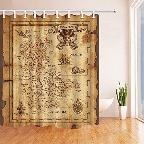 Gaofenffr - tenda da doccia in poliestere resistente alla muffa, motivo: bandiera dei pirati, 180 x 180 cm