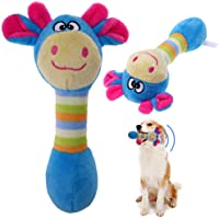 Qpets® Funny Animal Shape Pet Puppy Dog Plush Sound Squeaker Chewing Toy (Blue, 18cm)