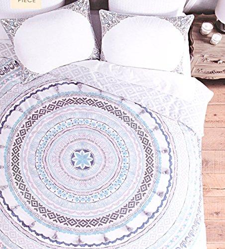 Cynthia Rowley Magical Smyrna Bettbezug Set Paisley marokkanischen Damast Medaillon Navy Blau Aqua Salbei Teal Grün Gelb Rot, baumwolle, Mauve Denim, Queen - Ralph Lauren-cover-set