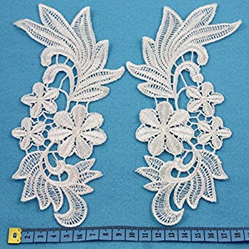280 x 80mm HL2044 Beads4Crafts OFF WHITE// IVORY GUIPURE LACE SEW ON EMBROIDERY EMBELLISHMENTS SEWING TRIM *FREE UK POSTAGE*