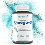 Omega 3 Fish Oil [ 2000mg ] By Aava Labs - High Strength - Molecularly Distilled For Purity And Freshness - 800mg EPA & 400mg DHA Per Serving - 120 Softgels.
