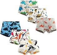 KATCOCO Little Boys Soft Cotton Boxer Briefs Dinosaur Truck Shark Boys Boxer Shorts Baby Toddler Kids Underwear 6 Pack