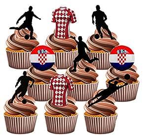 Euro 2016Kroatien Fußball Party Pack–essbar Stand-up Cup Cake Topper (36Stück)
