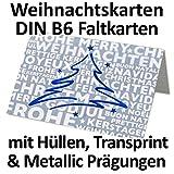 Films pour cartes format B6Cartes avec Transcend Sprint/Bleu/Argent Métallisé & de Noël prägungen//avec enveloppes dans blanc ou argent//17x 11,5cm 100 Sets/Umschlag Silber