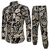 Langarmhemd Heeren Business Slim Fit Shirt Druck Bluse Top + Hosen Men's Ethnic Print Langarm-Shirt und Hosen-Set