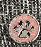 SDCXV Paw Pattern Powder Dog Tag Hund Halskette Anhänger Zubehör (Pink) Für jeden Tag