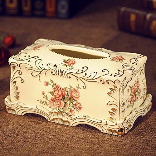 Z-J-H Europäische Keramik Tissue Box Retro Picking Karton Wohnzimmer Schlafzimmer Tagungsraum Hochwertige Tissue Box (Keramik Tissue Box Cover)