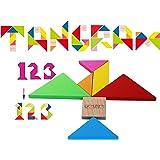 Toys of Wood Oxford TOWO Rompecabezas Tangram de Madera - Forma a los Bloques de patrón con 7 Grandes Formas geométricas de C