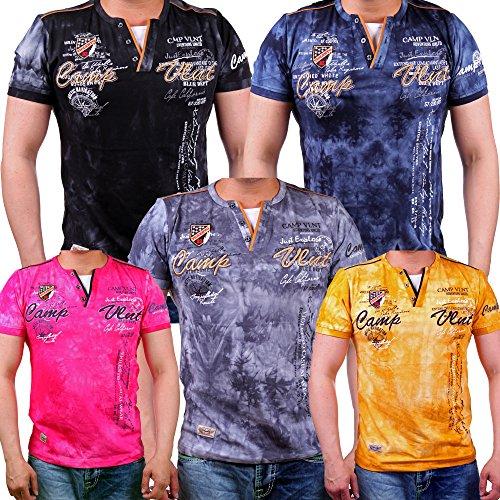 T-Shirt Herren mit Knopfleiste | verwaschene Tshirts für Männer | Herrenshirt Kurzarm mit gestickten Details | sportliche Männer Sommer Shirts | Camp Vlnt Slim Fit (Bis 5XL) LG-003 Gelb