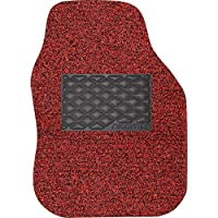 Nicoman Spaghetti Vinyl-Loopers Dirt Trapper Heavy Duty Gecko Backing Anti-Slip Universal Car Floor Mats(Black & Red, Driver Side 1-Piece)