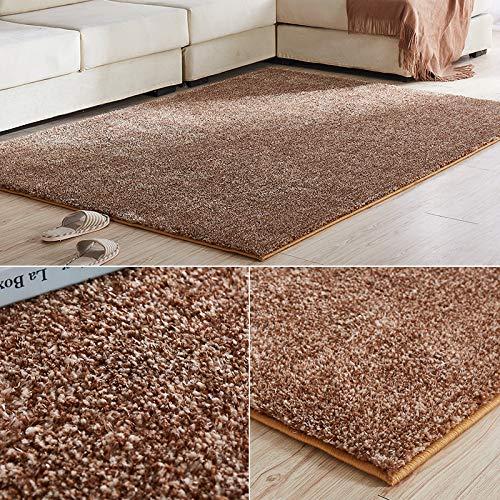 vvydkyjyjy Verdicken elastischen Seidenteppich Schlafzimmer moderner minimalistisches Wohnzimmer Couchtisch Matten europäisches Geschäft für zuHause Teppich Sofabett 1.2 * 1.7 Metertief Kamel -