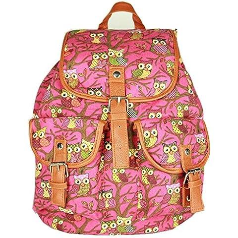 Noru Borse ragazze elegante retro gufo stampa zaino spalla mano scuola borsa, Bambino, Pink, Taglia unica