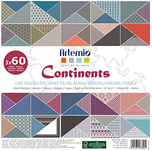 Artemio Kontinenten Scrapbooking Papier, mehrfarbig, 180Stück