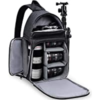 RUBRIC® Camera Bag Sling Backpack, Camera Case Waterproof with Modular Inserts Tripod Holder for DSLR/SLR and Mirrorless Cameras (Canon Nikon Sony Pentax) (Black)