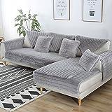 FDJKGFHGFCGDFGDG Volle Deckung schonbezug Sofa,Winter Anti-rutsch plüsch sofabezug Rückenlehne zu Decken Moderne schlichtheit Couch abdeckungen Sofabezug für Wohnzimmer -Grau 70x210cm(28x83inch)